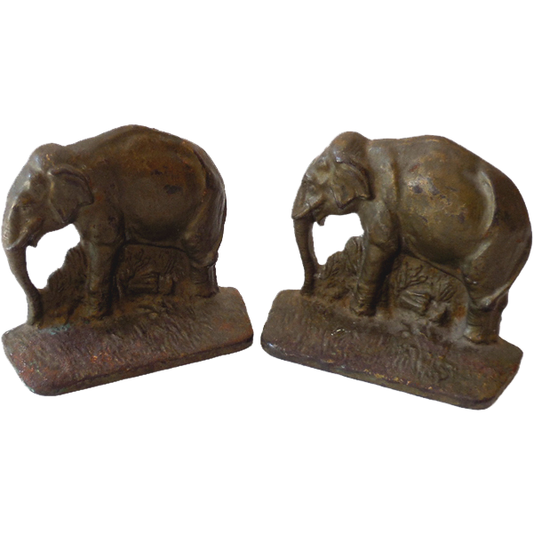Old Cast Iron Elephant Bookends Signed ACW