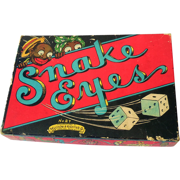 Vintage 1930s Snake Eyes Game Black Americana