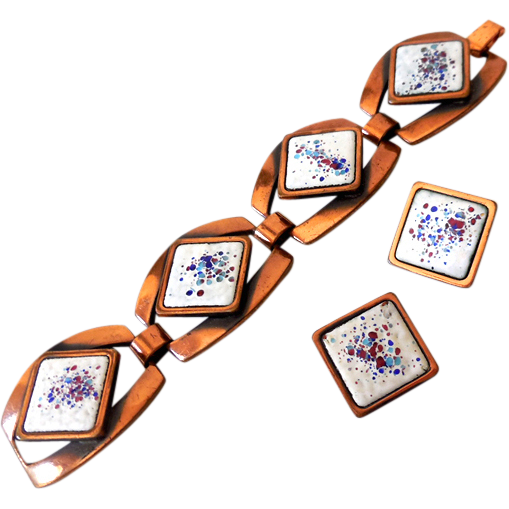 Signed Rebajes Copper & Enamel Bracelet Earrings Set