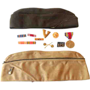 Collection Of WW ll Military Hats Medals Bars