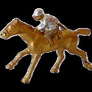 Vintage Metal Race Horse and Jockey