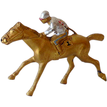Vintage Metal Race Horse and Jockey