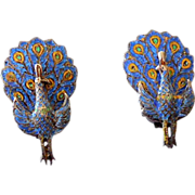1940s Sterling & Enamel Peacock Earrings Siam