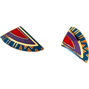 Laurel Burch Enamel Cloisonne Clip Back Earrings