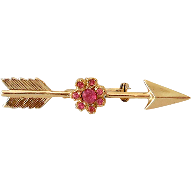 Gold Tone Arrow Brooch With Pink Rhinestones