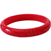 1930s Bakelite Bracelet Cherry Red Carved
