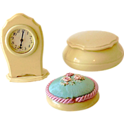 Vintage 3 Piece Dubarry Vanity Set Clock, Pin Cushion, Jar
