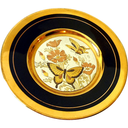 Small Vintage Art Of Chokin Decorative Plate Butterflies