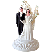 1950s Chalk Wedding Cake Topper Bride & Groom