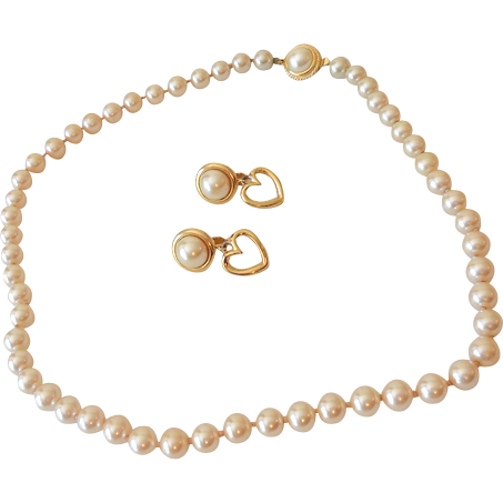 Signed Cacharel Faux Pearl Necklace & Earrings Set