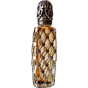 Miniature Silver Caged Glass Perfume Bottle Made in France