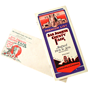 1931 San Joaquin Couinty Fair Booklet with Mailing Envelope