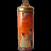 Tall 1920s Three Flowers Talcum Powder Tin Deco Empty