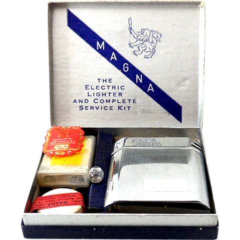 Complete 1950s Magna-Lux Electric Cigarette Lighter & Kit Mint in Box