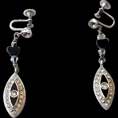 Vintage Rhinestones & Black Screw Back Drop Earrings