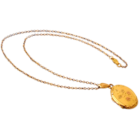 1920s-30s Gold Tone Locket on 18 Inch Chain