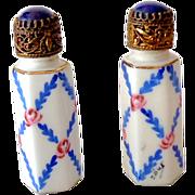 Scarce Pair Vintage Porcelain Mini Perfume Bottle France Jeweled Tops