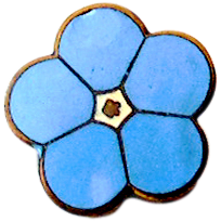 Small Vintage Blue Enamel Flower Pin England
