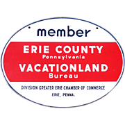 Large 3 Color Double Sided Porcelain Sign Erie Vacationland
