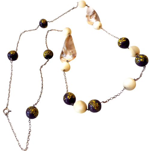 Unique Glass Beads and Natural Shells Necklace 35 Inches