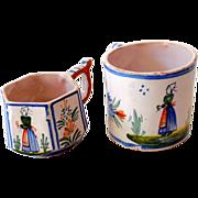 (2) Vintage Cups Signed Henriot Quimper France