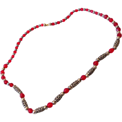 Vintage Necklace Red Glass & Silver Cut Out Beads 24""
