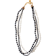 Vintage Necklace 4 Strand Clear & Black Beads