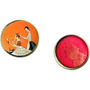 Art Deco Three Flowers Rouge Compact Box - Richard Hudnut