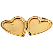 Large Vintage Gold Tone Locket Heart Shaped