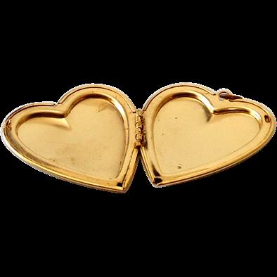 Large Vintage Gold Tone Locket Heart Shaped