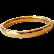 Vintage Signed Trifari Hinged Gold Tone Bangle Bracelet