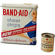(2) Vintage First Aid Tins Band-Aid & J&J Red Cross