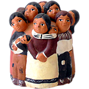 Red Clay Pottery Figurine Native Peruvian Family