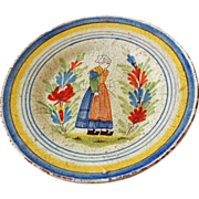 Very Old Faience Tin Glazed Plate Quimper France