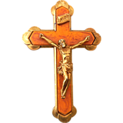 Gorgeous Vintage Brass & Bakelite Crucifix Cross
