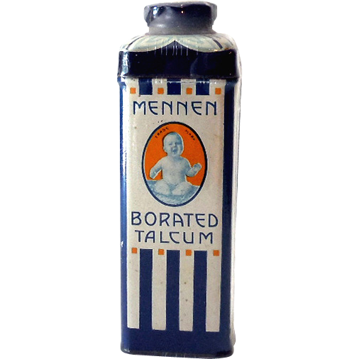 1930s-40s Mennen Baby Powder Talcum Tin Excellent Graphics