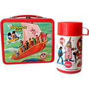 1977 Disney Mickey Mouse Club Mouseketeer Tin Lunchbox & Thermos