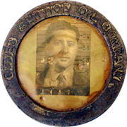 1940s-50s Photo Employee ID Badge Oil