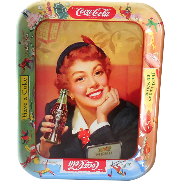 Original 1950S Coca Cola Tin Advertising Tray
