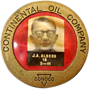 1940s-50s Photo Employee ID Badge Conoco Oil