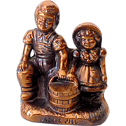 Vintage Jack and Jill Bronzed Metal Savings Bank