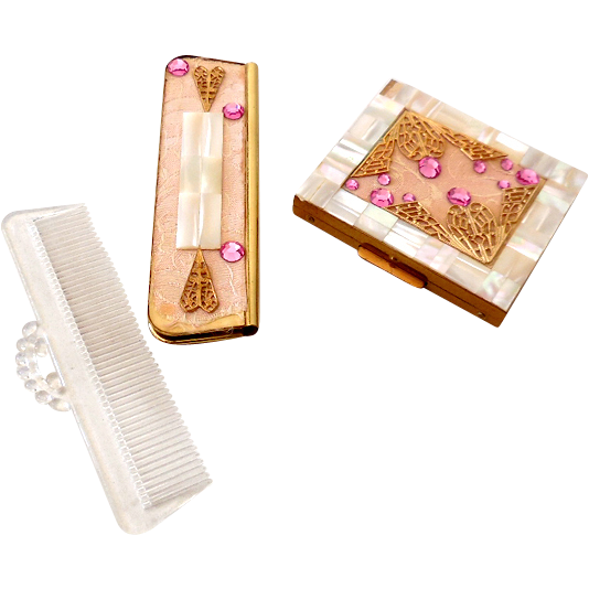 Jeweled MOP Compact & Matching Comb Case