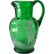 Hand Blown Glass Victorian Syrup Pitcher Mary Gregory