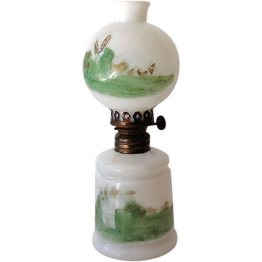 Small Vintage Gwtw Oil Lamp Milk Glass With Hand Painted