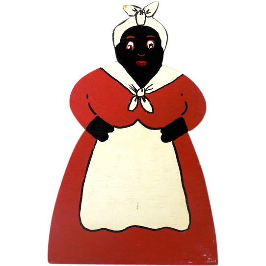 1930s-40s Hand Painted Black Americana Wood Mammy