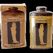 Rare Talcum Powder Tin With Original Box Great Graphics