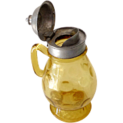 Antique Victorian Amber Glass Syrup Pitcher Hinged Lid
