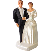 1954 Chalkware Wedding Cake Topper Bride & Groom