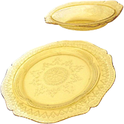 (2) 1930s Yellow Depression Glass Bowl & Dinner Plate