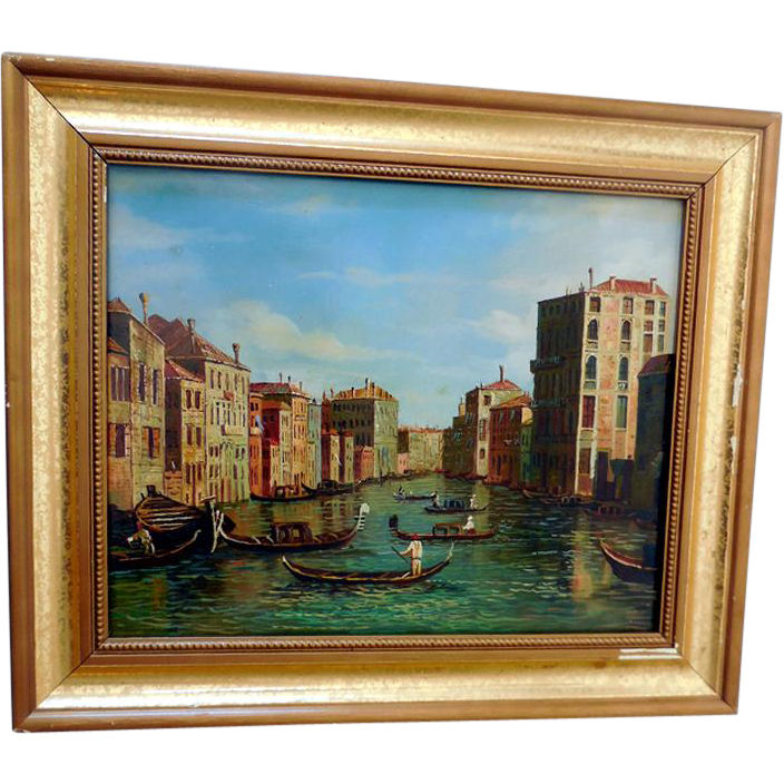 "Small Early Framed Painting ""Venice"""
